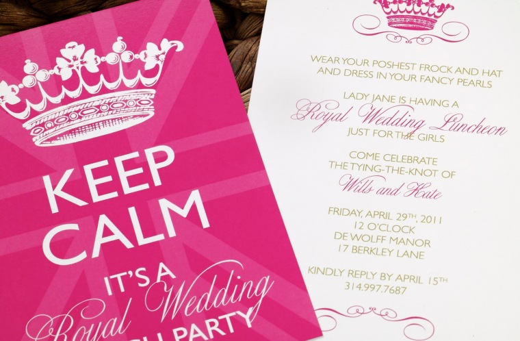 seasonal-party-invitations-glamorous-white-royal-wedding-party-invitation-design-idea-with-fuchsia-crown-motive-and-green-fuchsia-letters-beautiful-party-invitation-design-ideas